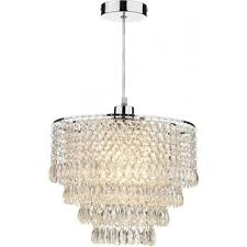 dionne ceiling light pendant shade in polished chrome finish with clear acrylic droplets