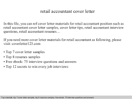 Accounting Cover Letters Awesome Retail Accountant Cover Letter
