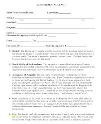 Template Lease Rental Contract Template Free Lease Agreement Short Term