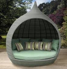 Outdoor Bed Frame Furniture Comfortable Round Wicker Outdoor Daybed ...