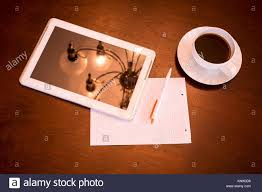 european cup office coffee. A Tablet PC, Paper And Pen Cup Of Coffee Classical Middle European Office