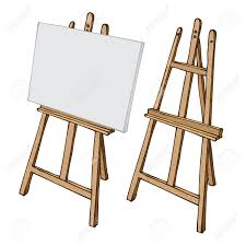 vector wooden painting easel with blank canvas cartoon black and white and color hand drawn sketch style isolated on white background