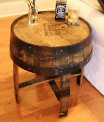 furniture coffee tables handmade vintage oak whiskey barrel table end metal weave bourbon pottery barn