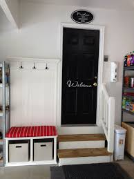 for garage entry which is usually an otherwise very boring or messy entry i think i will paint the door a great color and have wele on it love this