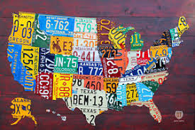 image is loading license plate map of the usa recycled metal  on license plate map wall art with license plate map of the usa recycled metal wall decor pub man cave