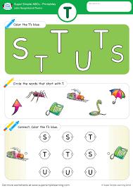 Esl ebook packs for kids : Letter Recognition Phonics Worksheet T Uppercase Super Simple