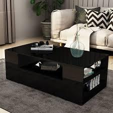 modern coffee table 2 drawer storage