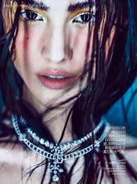 sporting ombre metallic makeup and messy wet hair the beauty of chinese model sui he is shown in the june extra issue pre fall 2016 of vogue china