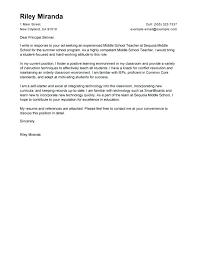 Cover Letter For Teacher Job Resume Template Directory