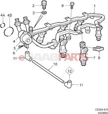 Esaabparts saab 9 5 9600 > engine parts > fuel rail injectors > fuel rail injectors 3 0 v6
