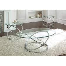 steve silver orion oval chrome and glass coffee table set hayneedle glass coffee table sets 847x847