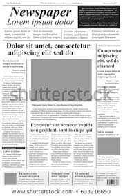 Newspaper First Page Template Newspaper Vector Template Lorem Ipsum Text Stock Vector Royalty