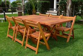 outdoor rectangular folding table by forever redwood
