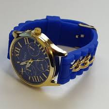 amazing deals on designer watches under £100 uk delivery cheeky ladies watch gold trim dial analogue blue silicone chain he005 blue