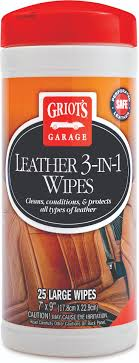 griots specially formulated leather 3 in 1 wipes clean condition and protect newer leather interiors and protect against uv damage pre aging and