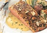 almond crusted salmon with capers and lemon