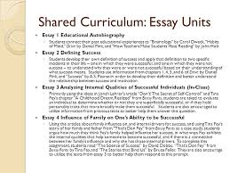 from here to there how to develop a thematic course and  shared curriculum essay units essay 1 educational autobiography ◦ students connect their past educational experiences