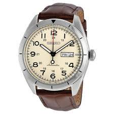 day date watch new seiko automatic day date brown leather strap men s watch srp713