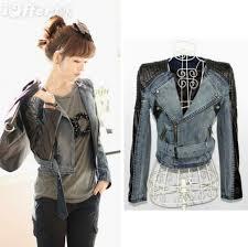 women s short denim motorcycle patchwork leather jacket