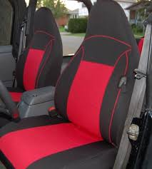 1997 2002 jeep wrangler tj custom neoprene seat covers front set red tj127frt