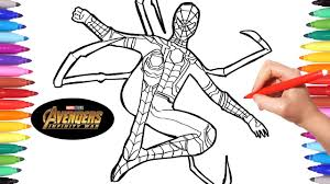 Spiderman team coloring pages happy viewing friends ! Avengers Infinity War Iron Spider Avengers Coloring Pages How To Draw Spiderman Infinity War Youtube