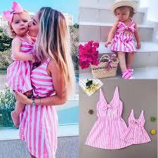 <b>Mother</b> & <b>Daughter Cute</b> Pink and White Stripe Matching <b>Dresses</b> ...