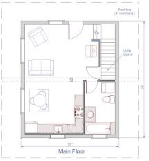 main floor plan of 480 sqft log cabin