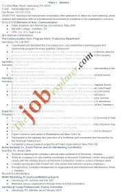 Communication Event Planning Resume Example Sample