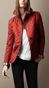 Burberry brit Cinched Waist Quilted Jacket in Red | Lyst & Gallery Adamdwight.com