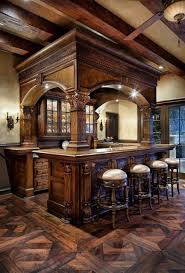 rustic home bar decor with detailed wooden arch top with pillars