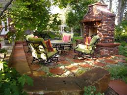 tasty outdoor backyard patio ideas with great brick fireplace for extraordinary balcony outdoor fireplace furnishings