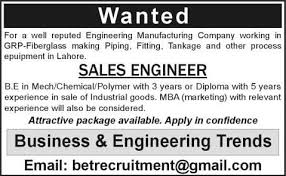 Sales Engineer Jobs In Lahore 2013 November Mechanical / Chemical ...