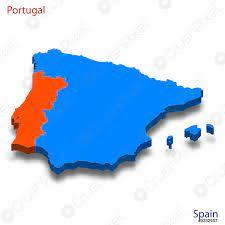 Mappa isometrica 3d Relazioni Portogallo e Spagna - vettore stock