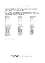 Action Words For Cover Letter Resume Action Verbs Resume Action Is A