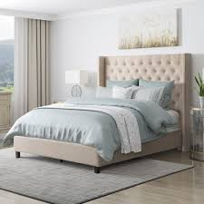 CorLiving Fairfield Beige Tufted Fabric Queen Bed with Wings
