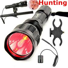 Hog Light Us 25 08 Tactical Red Light Flashlight Cree Xpe 300m Long Range Hog Hunting Flashlight 1 Mode Torch With Gun Mount And Remote Control In Led