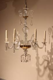 fine quality late 19th century six arm glass chandelier