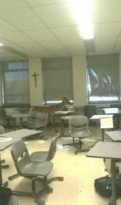 classroom window. Deer Crashes Through Classroom Window L