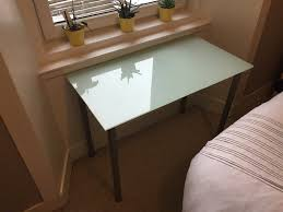 glass desk table with metal legs