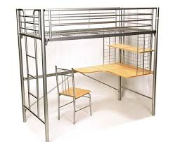 Harvard Single Bunk Bed With Desk And Chair In Silver