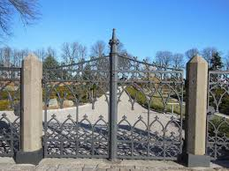 fence old arch metal gate blue sky memorial grey iron fine estate sunny day patterned nonbuilding