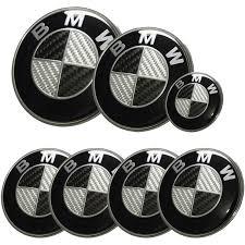 Afauto 7pcs <b>BMW</b> Black-Silver Carbon Fiber Style <b>Emblem Logo</b> ...