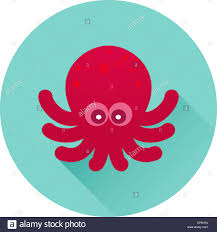 Vector Octopus Icon Red Octopus On Bluish Green Background Trendy
