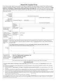 Form Of Share Certificate Sharegift Transfer Form