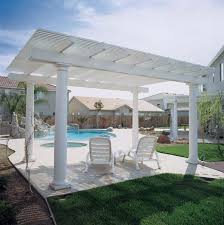 aluminum pergola costco most fascinating design white stained finish wooden posts crossbeams rafters battens swimming pool patio decoration