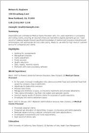 Medical Claims Processor Resume Sample Professional 10 Acca Template ...