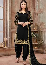 Handmade Punjabi Suit Design Black Art Silk Mirror Work Punjabi Suit