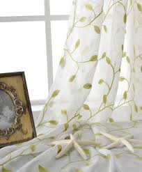 white tulle curtain with lime green embroiderry leaves pattern for windows treatment exotic white curtains