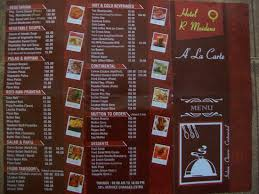 Restarunt Brochure Simple Menu Card Picture Of Hotel R Maidens Kasauli Restaurant