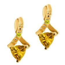 get ations 0 42 ct trillion yellow citrine and canary diamond 14k yellow gold earrings